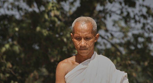 Monk, White, Bald Head, Devoutly, Rest, Faith, Buddhism