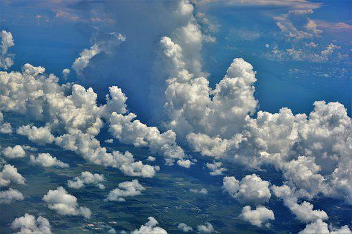Clouds, White, Puffy, Aerial View, White Clouds, Shapes