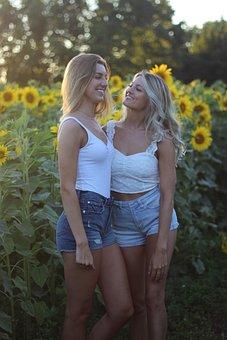 Girls, People, Sunflowers, Sunflower, Blonde, Field