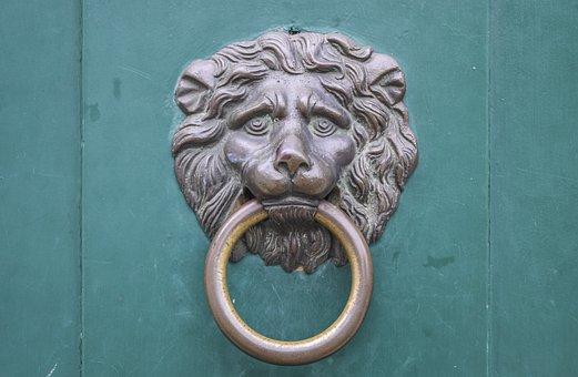 Door, Doorknocker, Input, Metal, Old, Wood