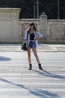 Girl, Young, Sexy, Elegant, Hair, Long, Sunglasses, Bag