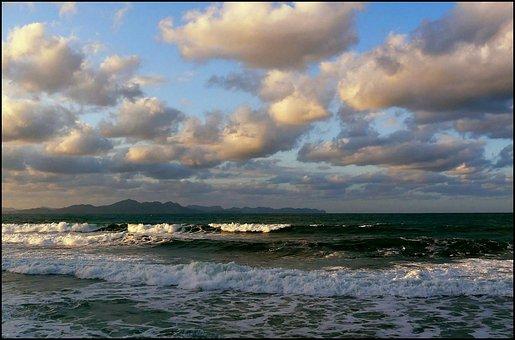 Sea, Beach, Water, Wave, Abendstimmung, Clouds, Sky