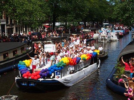 Gay Pride, Amsterdam, Boat, Prinsengracht, Netherlands
