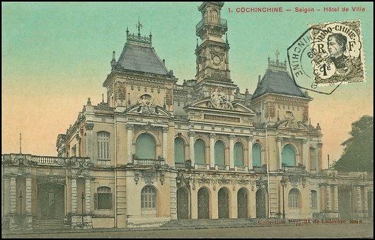 Vintage, Saigon, Postcard, Post, Card, Drawing, Asia