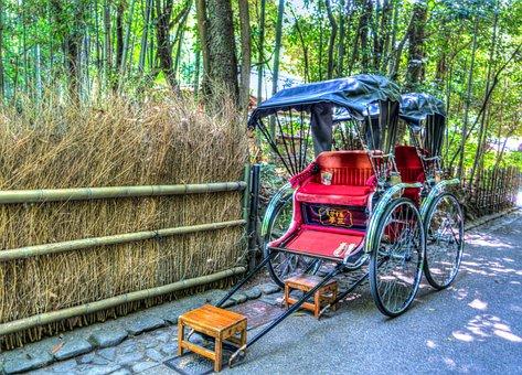 Japan, Arashiyama, Bamboo Forest, Grass Rickshaw