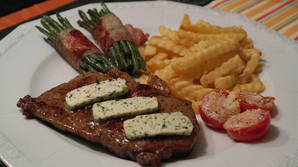 Rumpsteak, Steak, Beans, Bacon, Green, Food, Cook, Eat