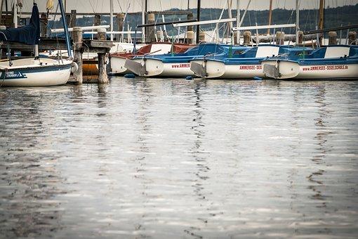 Boats, Sailing Boats, Lake, Ammersee, Water, Sail