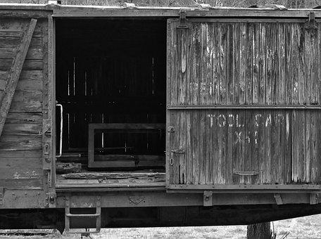 Railroad, Rail, Train, Car, Black And White, Box