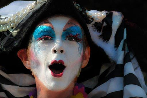 Face, Clown, Parade, Expression, Theatrics, White