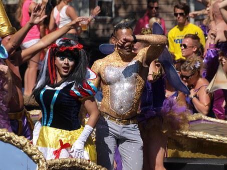 Gay Pride, Amsterdam, Persons, Colorful, Dressed
