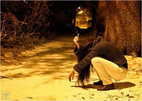 Sad Girl, Depressed, Unhappy, Woman, Crouching