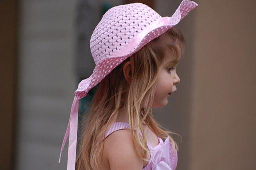 Girl, Pink, Hat, Easter, Dress, Fashion, Profile, Youth