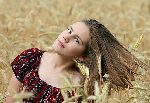 Girl, Field, Wheat, Hair, Girl In A Field, Harvest