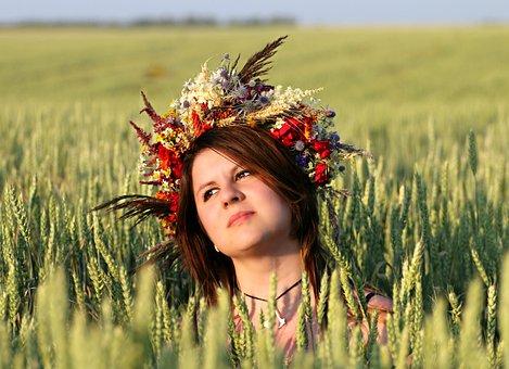 Wreath, Girl, Field, Flowers, Witch, Sun, Rye, Harvest