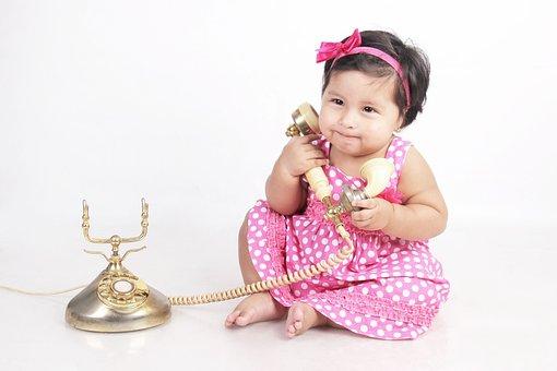 Bebe, Calling, Phone, Girl, Child, Child Portrait