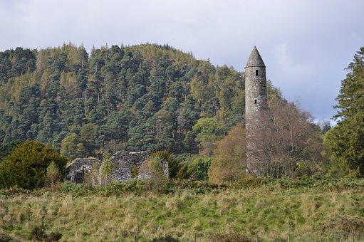 Glendalough, Landscape, Stone, Tower, Monastery, Woods