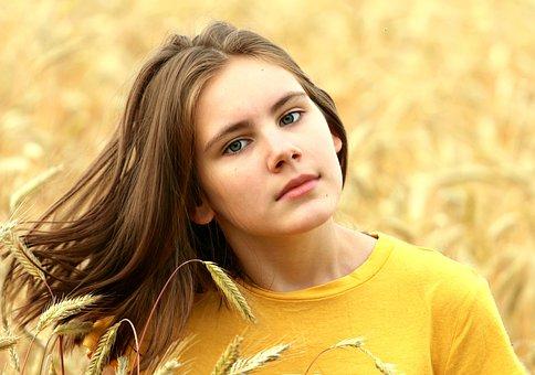 Girl, Hair, Field, Wheat, Abundance, Harvest, View