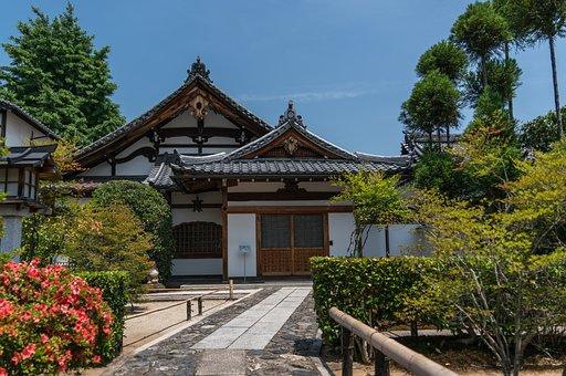 Japan, Arashiyama, Kyoto, Garden, Sky, Trees, Japanese