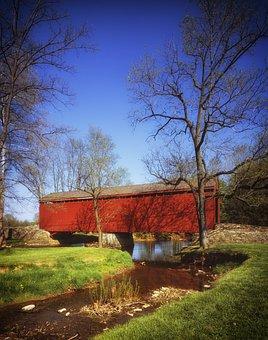 Maryland, Covered Bridge, Landmark, Historic, Stream