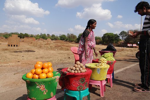 Fruit Vendor, Dharwad, India, Market, Sell, Sale, Fruit