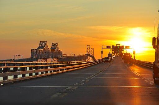 Maryland, Sunset, Bridge, Architecture