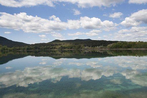 Lake, Banyoles, Girona, Catalunya, Nature, Clouds