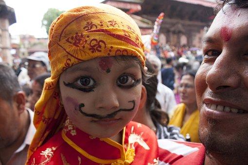 Culture, Festival, Gai Jatra, Nepal, Make Up, Child