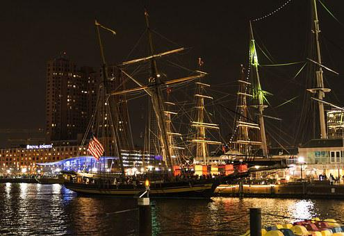 Baltimore, Night, Dusk, City, Urban, Boat, Ship, Harbor