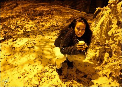 Girl, Woman, Crouching, Squatting, Cold, Night, Winter