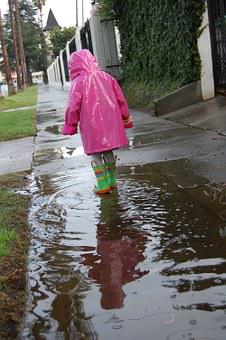Child, Girl, Rain, Puddle, Raincoat, Pink, Sidewalk
