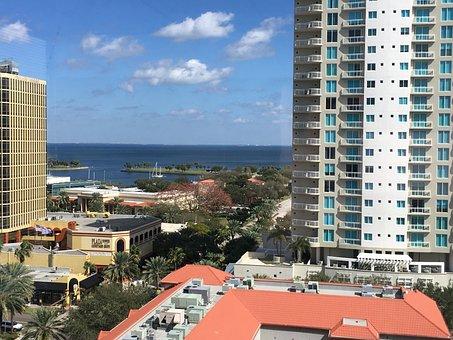Ocean View, Buildings, Skyline, City, Sea, St Pete