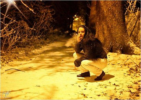 Girl, Woman, Crouching, Squatting, Smoking, Cold, Night