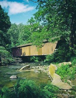 Covered Bridge, Bridge, Old, Landmark, Historic, Stream
