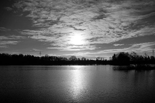 Monochrome, Sunrise, Lake, Stretch, Late Autumn, Cool