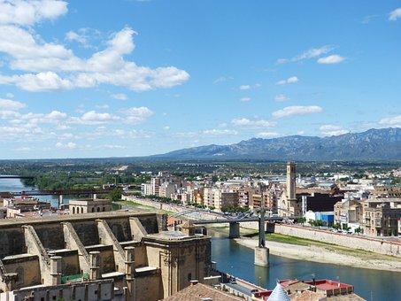 Tortosa, Catalunya, Ebro River, View, Panorama