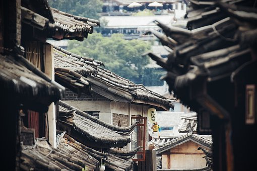 China, Roof, Street, Asia, City, Houses, Old, Town