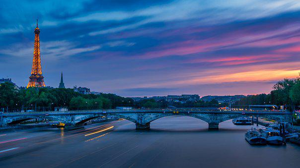 Paris, Eiffel Tower, River, Sunset, Romantic, Bridge