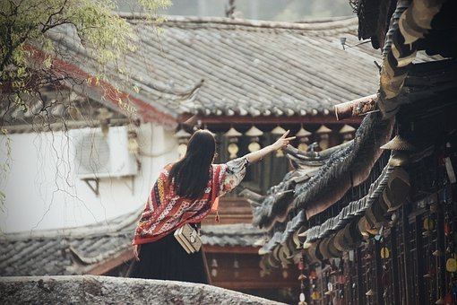 China, Bridge, Girl, Greeting