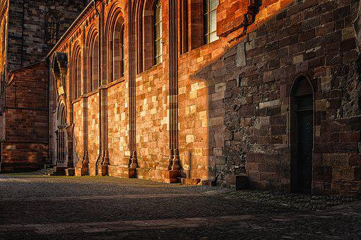 Sunrise, Building, Dom, Church, Alley, Architecture