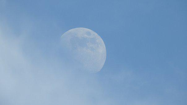 Moon, Blue Sky, Clouds, Day, Atmosphere, Sky