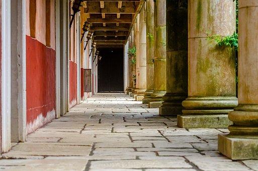 Antique, Corridor, Column, Architecture, Vintage