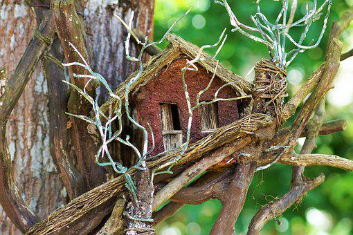 Flying, Crafts, Dry Twigs, Plant, Little House, Wood