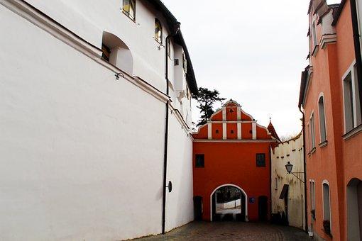 Neuburg A, D, Danube, Bavaria, City Gate, Wall