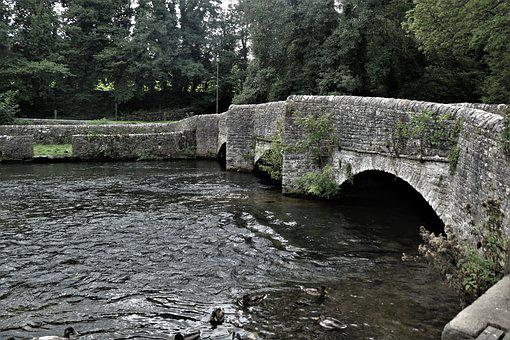 Bridge, Water, Lake, Stream, Ducks, Architecture