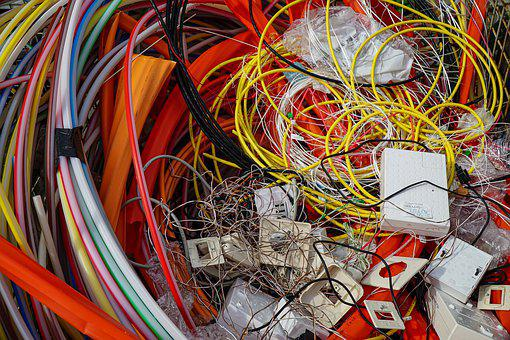 E Waste, Cable, Colorful, Technology, Background