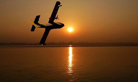 Sunset, Aircraft, Canadair, Ocean, Sun, Twilight