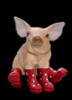 Pig, Sitting, Lucky Pig, Decoration, Garden Figurines