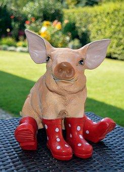 Pig, Garden Figurines, Red Rubber Boots, Lucky Pig
