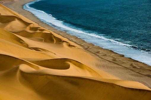 Dunes, Sea, Coast, Namibia, Africa, Water, Sand