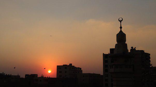 Mosque, Minaret, Sunset, Sun, Birds, Plane, Islamic